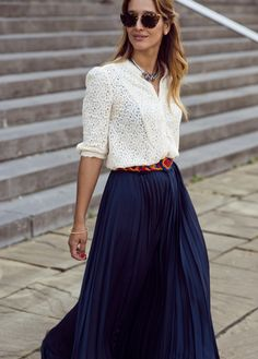 Tiany Kiriloff so elegant in long fluid navy skirt - discover Tiany's latest fashion finds on www.musestyle.com