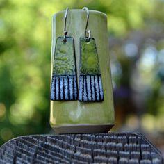 Spring Green Torch Fired Enamel Earrings