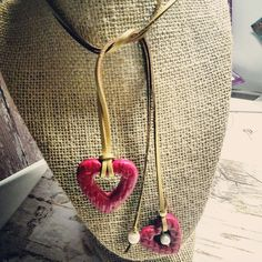 Leather cord gold color with polymer clay heart pendant and fresh water pearls