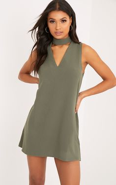 Cinder Khaki Choker Detail Loose Fit Dress Image 1