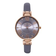 SO&CO New York Women's SoHo Quartz Purple Leather Strap Crystal Watch