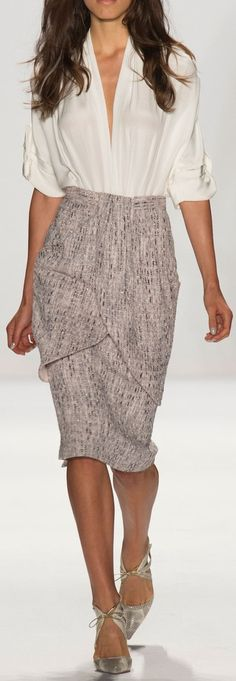 Badgley Mischka Spring 2015 white blouse, gray skirt. #women #fashion outfit #clothing style apparel @roressclothes closet ideas