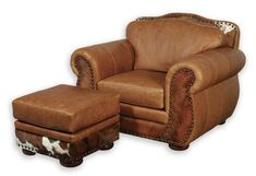 Western Leather Club Chair 70 Western Accent Chairs - Large Western leather club chair with natural brindle hair on hide accent and nail head trim. Great looks, real comfort and quality construction at an affordable price. Ottoman priced separately. Matching sofa available. Made in the USA and ships in approximately 10 weeks.