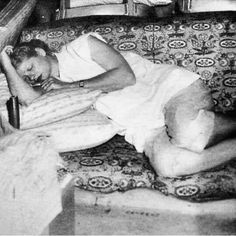 Lucille Ball napping on I Love Lucy set while pregnant