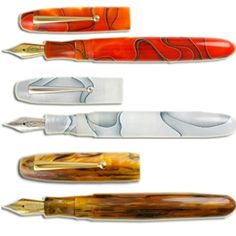 "I love the top two colors: ""persimmon swirl"" and ""silver marble."" 18k fine nib please!"