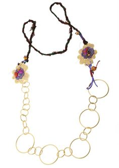 Handmade jewelry,gold plated silver flower and hoop necklace 925o with bronze flower, lace and swarovski