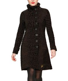 Look at this #zulilyfind! Black & Brown Yanna Funnel Collar Coat by Desigual #zulilyfinds