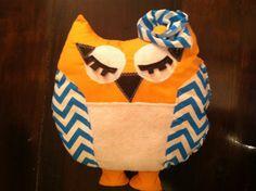 Orange and Blue Chevron Owl Plushie by MrsCaudillDesigns on Etsy, $25.00