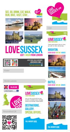 Love Sussex Olympic campaign elements: A poster(top left) drives international viewers to a mobile website (right and bottom) where they select their language and get more destination detail on the move. Bright and clear brand, and funky personalised QR!