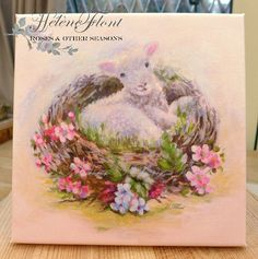 Lamb and bird nest with forget-me-not , easter greetings by Helen Flont