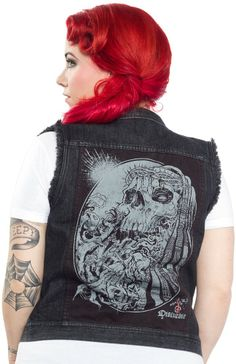 DISTURBIA CROWN OF THORNS VEST This denim vest is so bad*ss! Heavy aging garment wash that features distressed printed pattern front shoulder sections with large back appliqué print of amazing Godmachine artwork. $82.00 #disturbia #vest #skull #crownofthorns