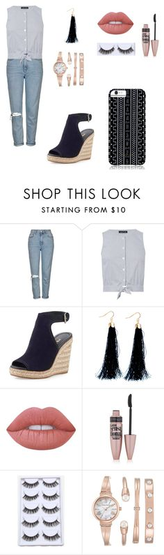 """Untitled #390"" by ajna-bajrami ❤ liked on Polyvore featuring Topshop, Warehouse, Prada, 3AM Imports, Lime Crime, Maybelline, Anne Klein and Savannah Hayes"