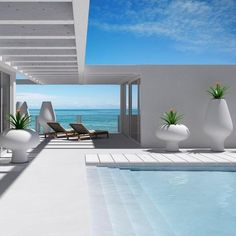 cool pool: sublime white minimalist beach pool