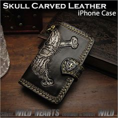 Highly detailed skull carved with hand tools only by skilled artisans! Leather Folder Protective Case Cover For iPhone 6,6s,7,8/Plus,X Skull&Bones Carved Handmade WILD HEARTS Leather&Silver (ID ip2577) https://global.rakuten.com/en/store/auc-wildhearts/item/ip2577/