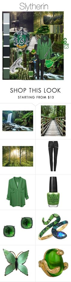 """Slytherin"" by cgl13 ❤ liked on Polyvore featuring 1Wall, GET LOST, WithChic, OPI, Lauren Ralph Lauren, Betsey Johnson, Faliero Sarti, harrypotter, slytherin and GREEN"
