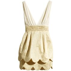 Beige V Neck Ruffles Party Dress ❤ liked on Polyvore