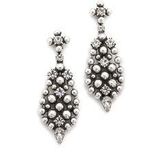 DANNIJO Nonia Earrings (€230) ❤ liked on Polyvore featuring jewelry, earrings, silver plated earrings, beaded drop earrings, beading jewelry, dannijo e oxidized jewelry