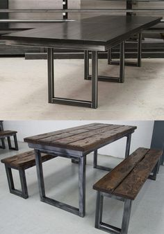 The Blacksmiths Table - industrial in style yet elegant. A solid 40mm thick timber top sits on top of the steel frame. You can choose from Oak, Walnut or Pine in a range of finishes