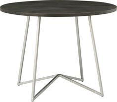 """peak dining table. 40"""" dia. x 30""""H - $399  Top: Solid sustainable mango wood with sheer charcoal grey stainBase: Iron square tube with antiqued silver powdercoat"""