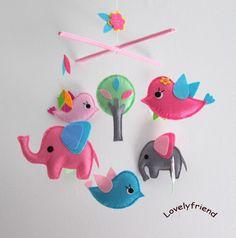 Mobile -Baby Crib Mobile - Baby Mobile - Crib mobiles - Felt Mobile - Nursery mobile -  birds & elephants  Design via Etsy
