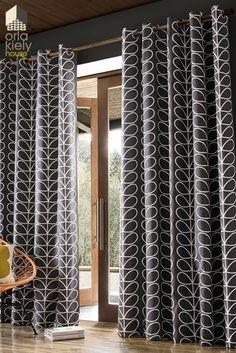 Buy Orla Kiely Linear Stem Eyelet Curtains from the Next UK online shop Orla Kiely Curtains, Retro Curtains, Grey Curtains, Colorful Curtains, Curtains With Blinds, Kitchen Curtains, Panel Curtains, Blackout Curtains, Orla Kiely Bedroom
