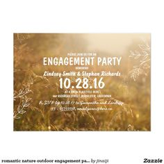 romantic nature outdoor engagement party invites