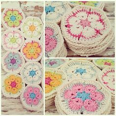 beautiful crochet African daisy hexagons