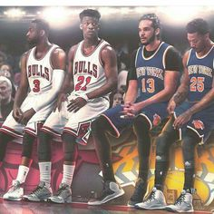 The Bulls' Dwyane Wade and Jimmy Butler versus the Knicks' Joakim Noah and Derrick Rose in Chicago.