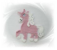 gehäkeles Einhorn rosa, Häkelapplikation, Applikation Einhorn, Unicorn, Aufnäher Einhorn