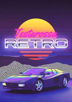 80s Neon, 80s Design, Neon Nights, Miami Vice, Retro Waves, Retro Futuristic, Car Posters, Retro Aesthetic, Retro Art