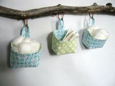 Three Small Baskets, Blue Green and White Reversible Mini Storage Baskets. great for nusery Baby Storage, Storage Baskets, Recipes From Heaven, Finding A House, Spring Green, Hanging Baskets, Vintage Metal, Baby Love, Blue Green