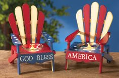 Set of 2 Americana Adirondack Chair Candle Holders