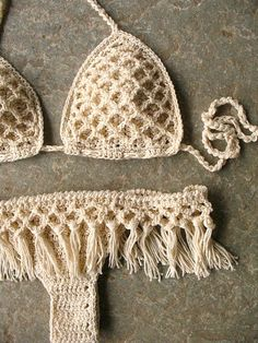 Set of boho crochet bikini and bottom with. Fringe crochet bikini Retro, boho chic style. Sure to be a favorite on the beach or at the pool. The bra cups are well shaped and adjustable due to the cords to bind, so you can adjust it how you need. The bottom is Brazilian style, but can be