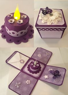 Tea light cake in an exploding box for my friend's birthday - 2015