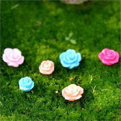 10Pcs/lot mixed color Plastic Flower,Micro artificial flower Tablewares DIY Garden Accessory Decor Craft Ornaments