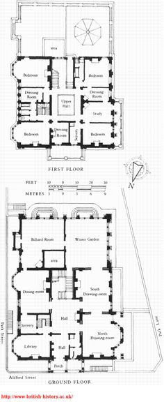 iAldford House (demolished), plans in 1898   mage.aspx 476×1,163 pixels