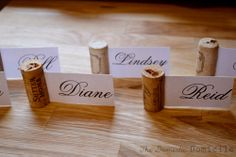 cork place card holders.
