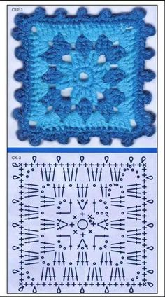 Just a quick entry here to show you what's on my work table this week: soft colors once again and a new light crochet square motif . Crochet Squares, Point Granny Au Crochet, Crochet Motifs, Crochet Blocks, Granny Square Crochet Pattern, Crochet Diagram, Afghan Crochet Patterns, Crochet Chart, Crochet Doilies