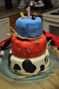 My son's first birthday cake. Western theme