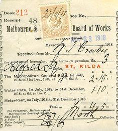 Board of Works receipt - Ephemera 1918 Papel Vintage, Vintage Paper, Vintage Labels, Vintage Ephemera, Vintage Ideas, Journal Cards, Junk Journal, Scrapbook Journal, Decoupage