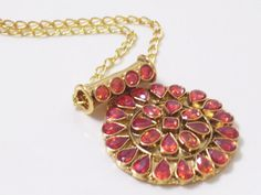 Vintage Gold Plated Faux Orange Stones Medallion by LoveLockets, $22.00