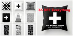 $5 OFF Everything + Free Worldwide Shipping until Midnight PST! http://society6.com/trebam  #sale @society6art @trebamstyle #homedecor #blackandwhite #pillows