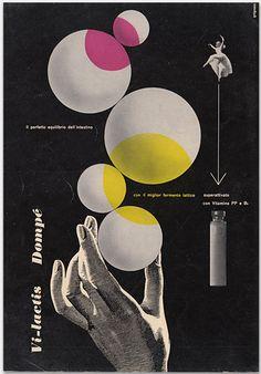 Vi-lactis, 1951, Designer: Franco Grignani (1908-1999),  Client: Dompé Pharmaceutical, Italy