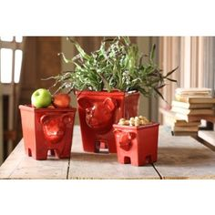 These three little ceramic piggies make great containers or planters for your favorite flowers. With their rich coat of red glaze, these little guys are full of personality and charm. #paulmichaelcompany #pigplanter #greenthumb #WPS