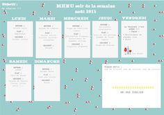 menu de la semaine Budgeting, Printables, Planning, Map, Organize, Internet, Decoration, Food, Gardens