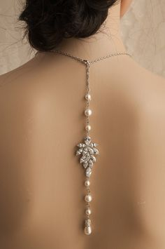 Backdrop Pearl necklace, Bridal necklace,Swarovski  Bridal jewelry,   AINSLEY