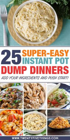 Dump dinners for the Instant Pot: Lots of easy dinner recipes. Dump and push start, then spend time with the family while dinner cooks itself. food recipes 25 Delicious Instant Pot Dump Dinners for Easy Weeknight Meals Dump Dinners, One Pot Dinners, Easy Dinners, Crock Pot Dump Meals, Easy Dinner Meals, Crockpot Dump Recipes, Easy One Pot Meals, Skillet Recipes, Freezer Meals