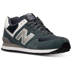 New Balance Men's 574 Varsity Casual Sneakers from Finish Line ($75) ❤ liked on Polyvore featuring men's fashion, men's shoes, men's sneakers and dk grey silver