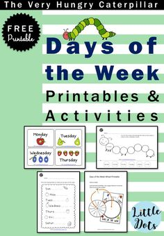 The very hungry caterpillar theme free days of week an little dots education preschool and activities . Free Preschool, Preschool Printables, Kindergarten Worksheets, Printable Worksheets, Kindergarten Class, Preschool Shapes, Preschool Projects, Free Printable, Free Days Of The Week Printables