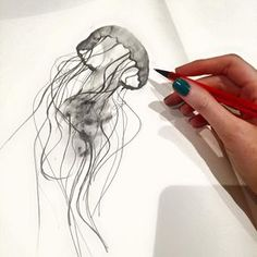 Katy Jade Dobson Art - Jellyfish Sketch Katy Jade Dobson Art - Jellyfish Sketch This image has 0 repetitions. Jellyfish Drawing, Watercolor Jellyfish, Jellyfish Painting, Jellyfish Tattoo, Jellyfish Quotes, Jellyfish Aquarium, Jellyfish Sting, Tattoo Watercolor, Jellyfish Light